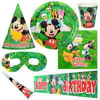 Праздничный набор бумажный на 6чел (салфетки, тарелки, стаканы, дудки, колпаки, скатерть, очки)