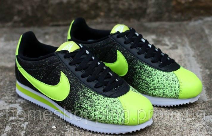 Мужские кроссовки Nike Cortez Nylon черно-салатовые