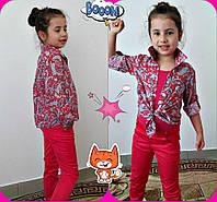 Детская  рубашка с цветочным принтом. (разные цвета) 116-128 см, фото 1