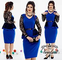 Женское платье с баской + гипюр  украшением (48-54) оливка , марсала, фото 1