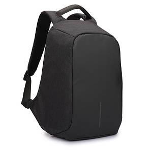 Рюкзак Bobby антивор, школьный ранец с USB выходом Серый Чёрный