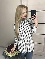 Рубашка женская в горох 42-46р черный красный горошек