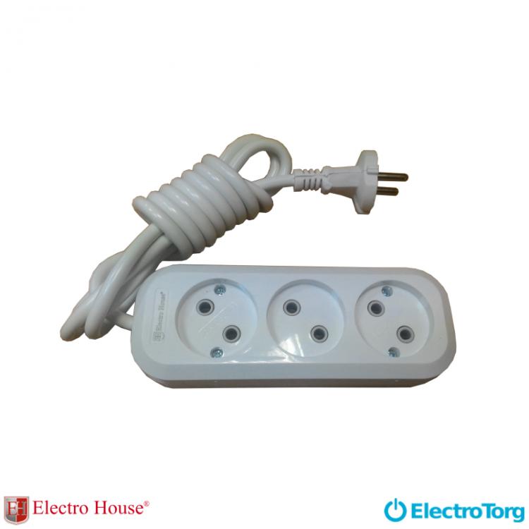 ElectroHouse Garant удлинитель 3 гнезда (шнур 3 метра) без заземления EH-2209