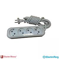ElectroHouse Garant удлинитель 4 гнезда (шнур 2 метра) без заземления EH-2214