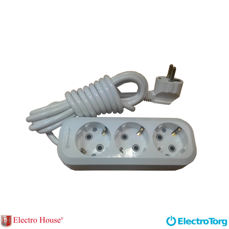 ElectroHouse Garant удлинитель 3 гнезда (шнур 5 метров) с заземлением EH-2213
