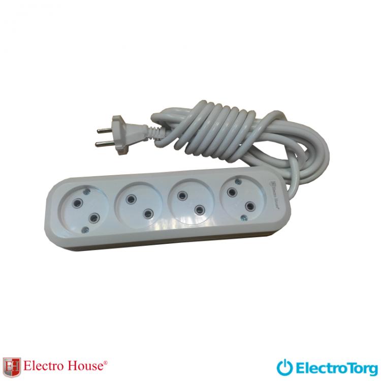 ElectroHouse Garant удлинитель 4 гнезда (шнур 3 метра) без заземления EH-2215
