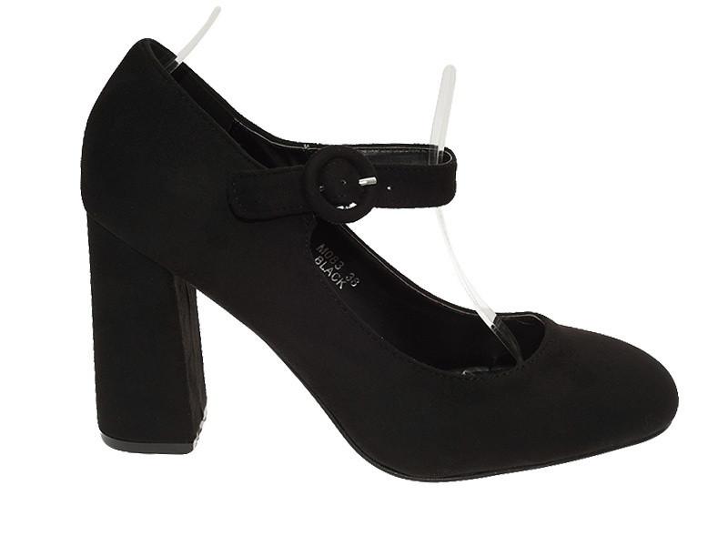 Женские туфли чёрного цвета из эко замша