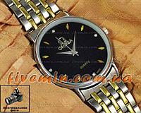 Наручные часы Omega Quartz Steel Gold Black кварцевые стальные унисекс женские и мужские омега