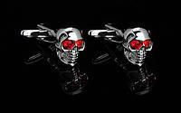 Запонки Череп для байкера брутального мужчины на вечеринку Хеллоуин серебристый, фото 1
