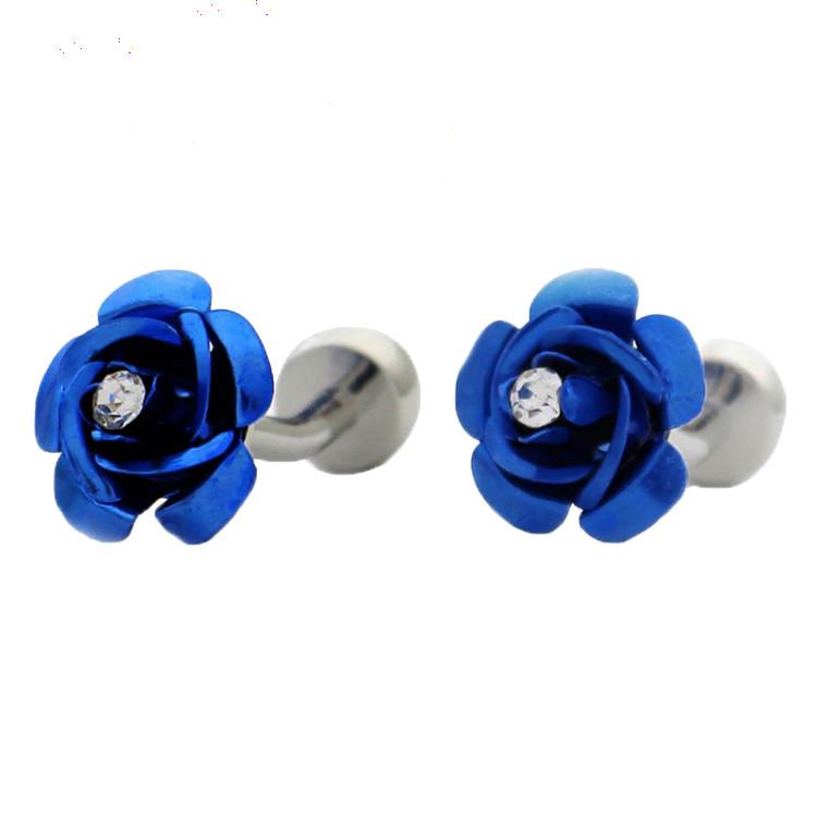 Запонки Синяя Роза Цветок с камушками стразами свадебные для торжественных мероприятий мужские и женские