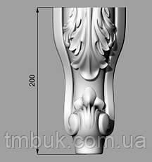 Ножка гнутая с лепестками деревянная резная. Для шкафов, тумб, комодов, деревянной мебели. 200 мм., фото 3