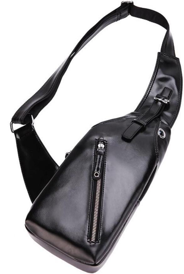 01860041146a ... Мужская чоловіча спортивная кожаная сумка слинг рюкзак бананка, ...