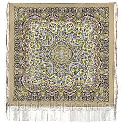 Идиллия 1788-2, павлопосадский платок (шаль) из уплотненной шерсти с шелковой вязанной бахромой
