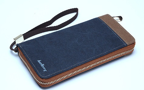 Мужской кошелек BAELLERRY Vintage Zipper портмоне на молнии с ремешком Синий (SUN1582)