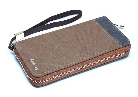 Мужской кошелек BAELLERRY Vintage Zipper портмоне на молнии с ремешком Кофейный (SUN1583)