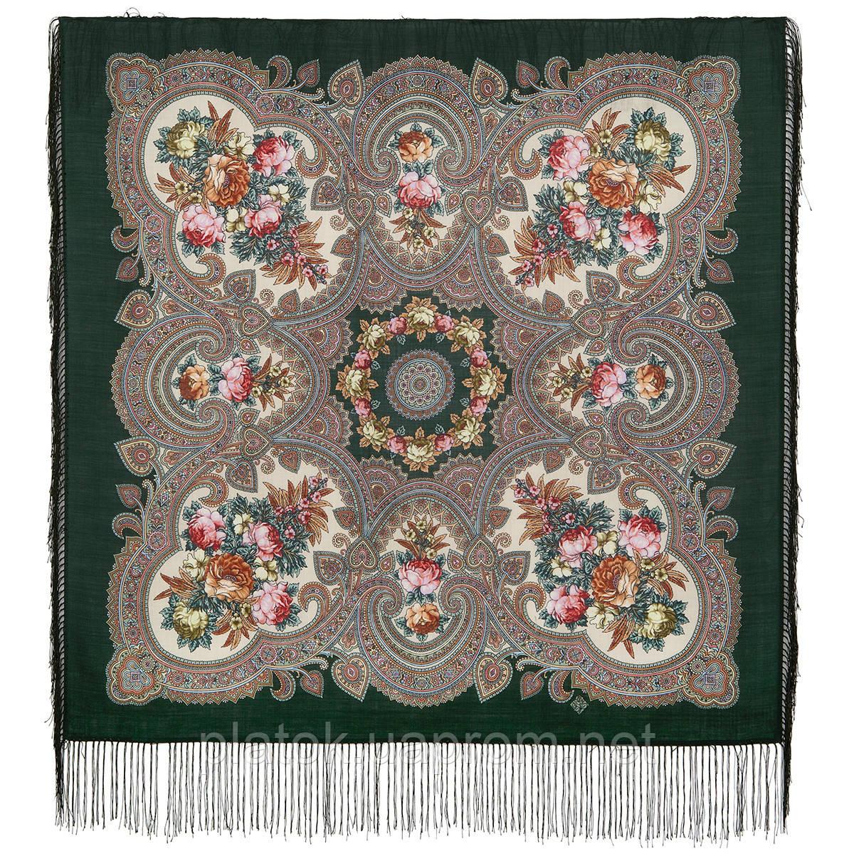 Свидание с летом 1814-9, павлопосадский платок шерстяной  с шелковой бахромой