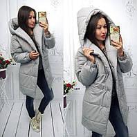 Осенне-зимняя тёплая длинная куртка пальто Зефирка с капюшоном серая S-M  L-XL bb11b50888ce3