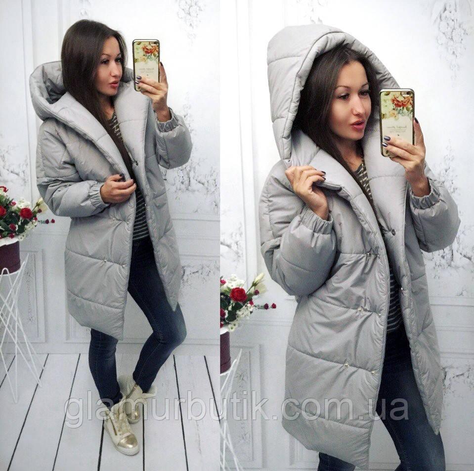 69c3ab7731d Осенне-зимняя тёплая длинная куртка пальто Зефирка с капюшоном серая S-M  L-XL -