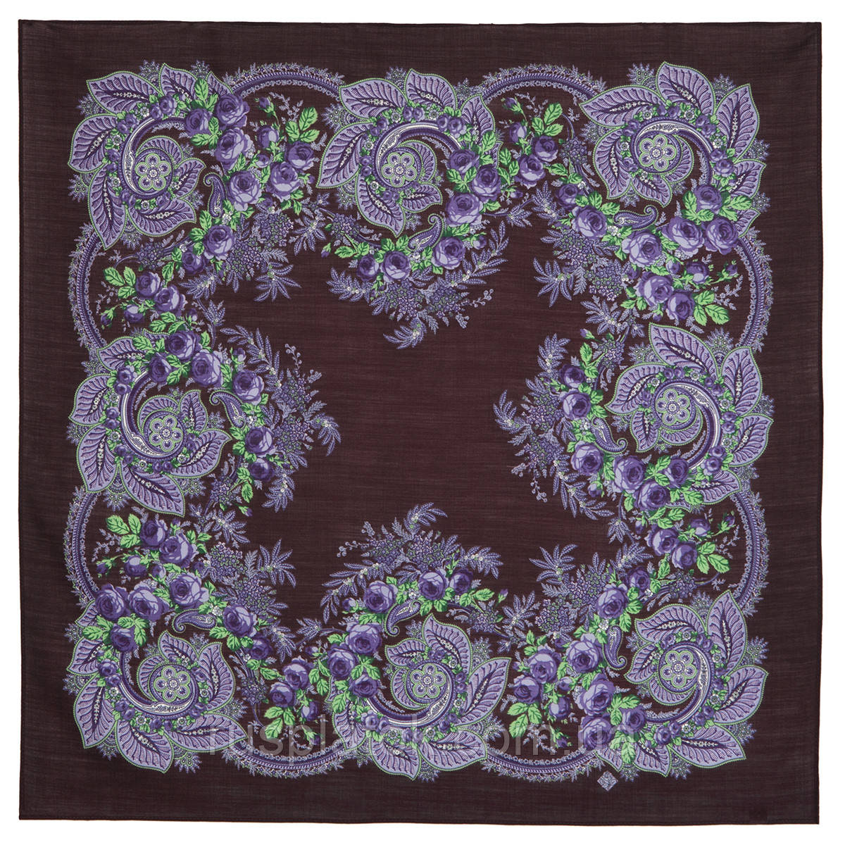 Сиреневый вечер 1832-17, павлопосадский платок шерстяной  с оверлоком