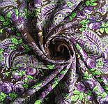Сиреневый вечер 1832-17, павлопосадский платок шерстяной  с оверлоком, фото 4