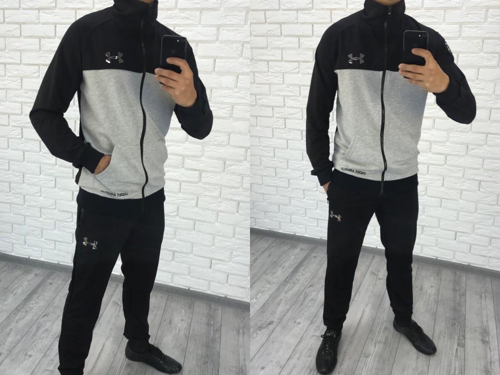 Мужской спортивный костюм серый с черным арт 6448-223