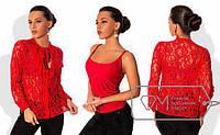 РАСПРОДАЖА! Блуза двойка (майка+накидка гипюр). Два цвета. Размеры: S, M, L  код 5998S