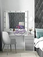Гримерный стол с тумбой, столик для макияжа с зеркалом и лампами