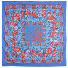 День св. Валентина 505-13, павлопосадский платок (шаль) хлопковый (саржа) с подрубкой