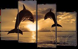 Модульная картина Дельфины на закате