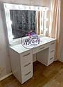 Гримерный стол с широким зеркалом и лампами, стол для макияжа с удобными ящиками, фото 2