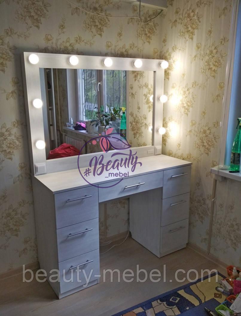 Гримерный стол с широким зеркалом и лампами, стол для макияжа с удобными ящиками