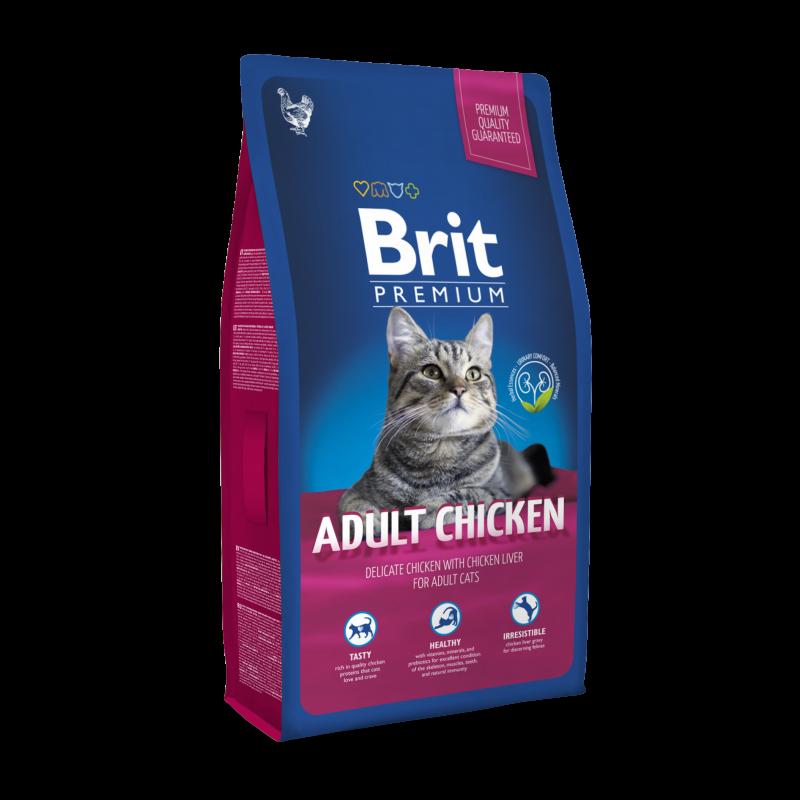 Brit Premium Cat Adult Chicken сухой корм с курицей для взрослых кошек, 1.5 кг