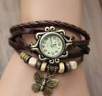Часы - браслет с бабочкой коричневые