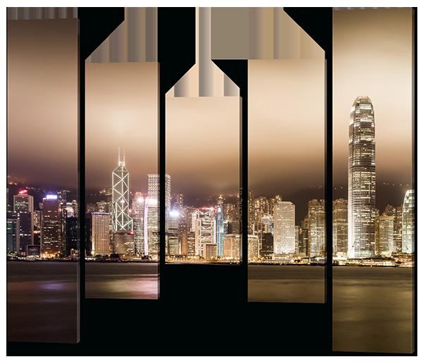 Модульная картина из пяти частей Ночь. Город. Море.