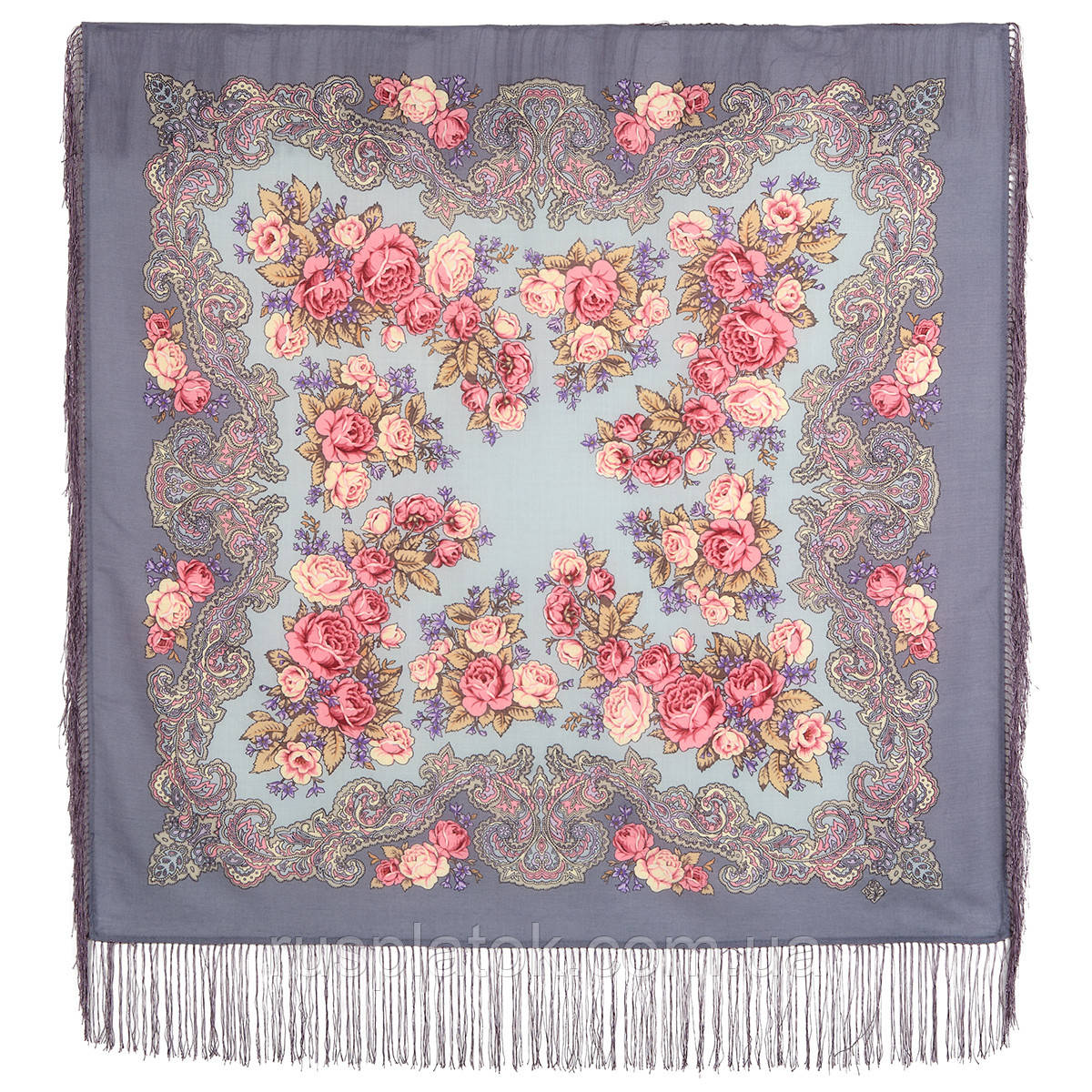 Румянец 1540-1а, павлопосадский платок шерстяной  с шелковой бахромой
