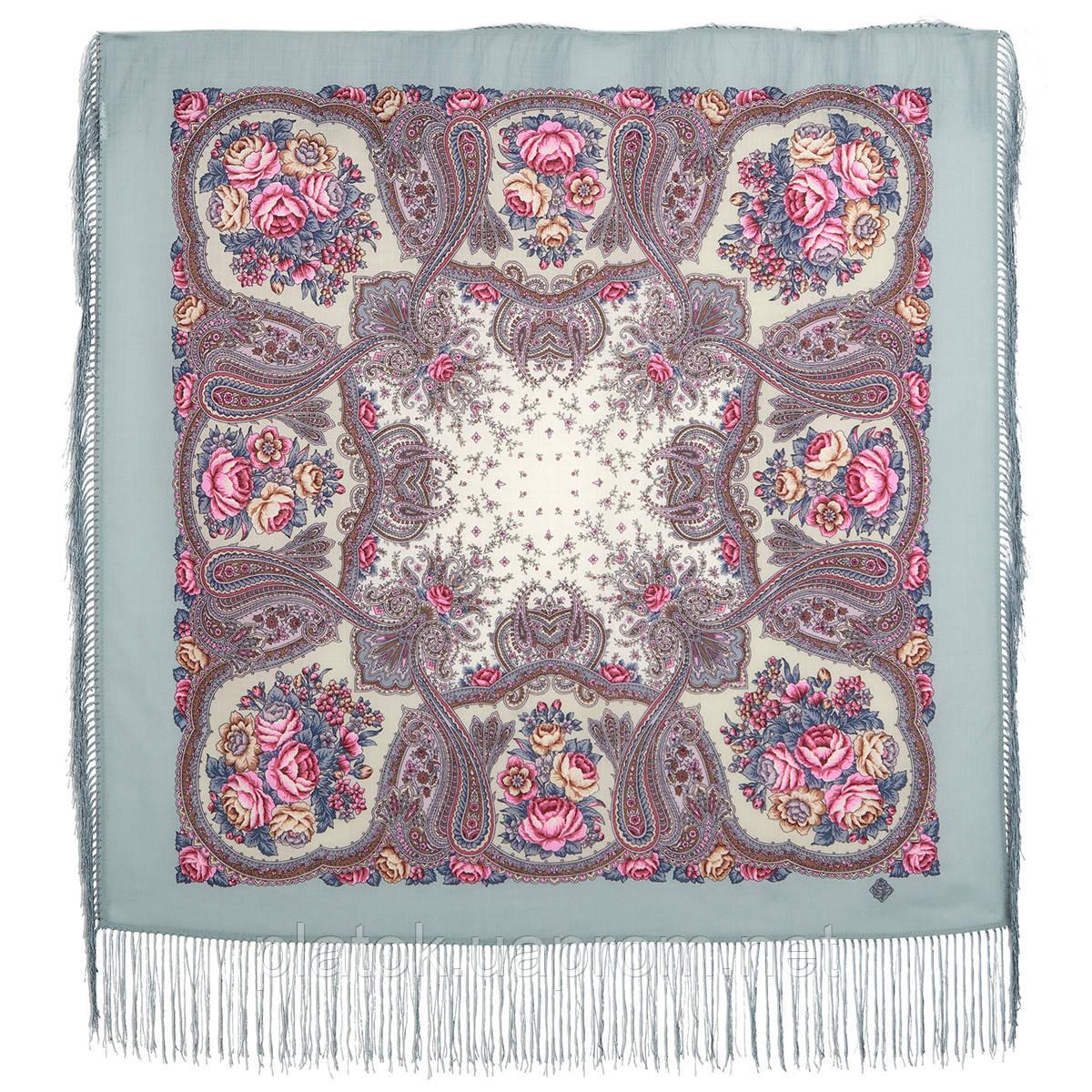 Сольвейг 1549-1а, павлопосадский платок шерстяной  с шелковой бахромой