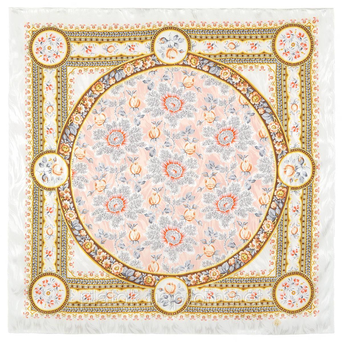Северные цветы 736-2, павлопосадский платок (жаккард) шелковый с подрубкой