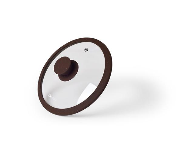 Крышка Fissman ARCADES 20 см (Жаропрочное стекло с мраморным силиконовым ободком)