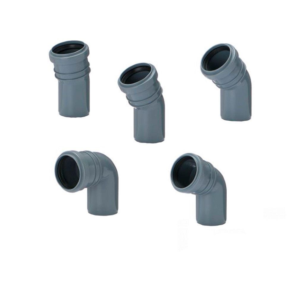 Колено (отвод) Инсталпласт 50/22° канализационное (Серое)