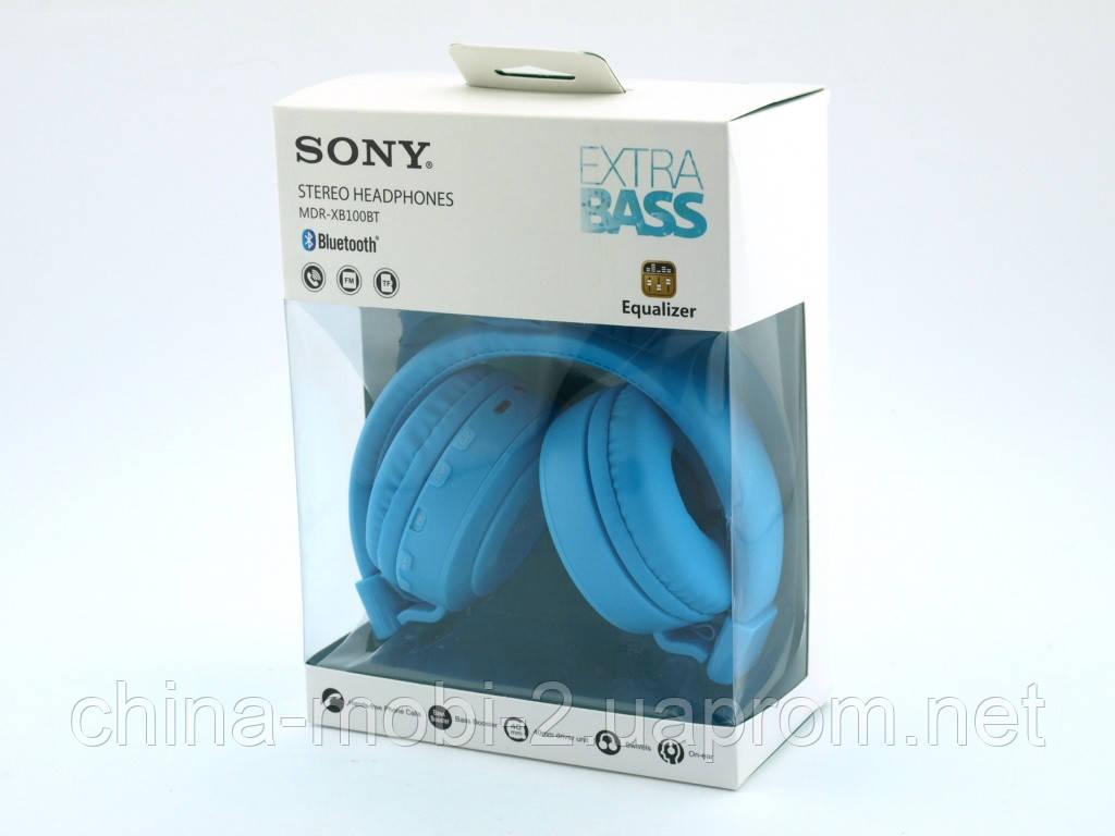 Sony MDR-XB100BT копия, Bluetooth наушники гарнитура c FM MP3, голубые