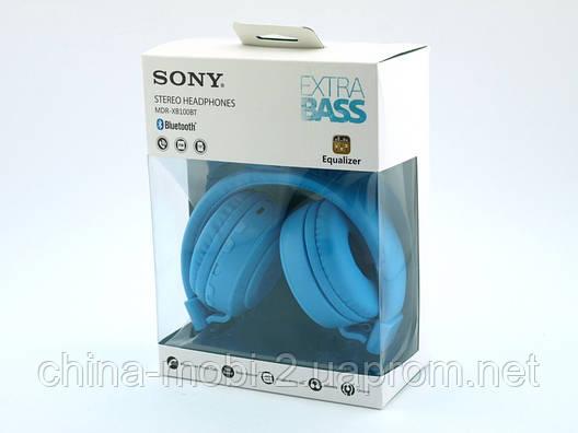Sony MDR-XB100BT копия, Bluetooth наушники гарнитура c FM MP3, голубые, фото 2