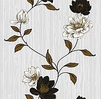 Обои бумажные Континент Эстель серый фон белые цветы 1380