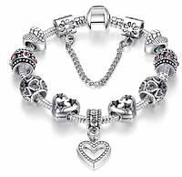 Браслет женский посеребренный в стиле Пандора PANDORA Love Heart