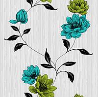 Обои бумажные Континент Эстель серый фон бирюзовые цветы 1381