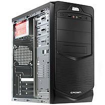 ►Корпус Crown СМС-401 Black компьютерный блок питания 450 Вт разъемы USB 2.0 х 2 наушники микрофон, фото 2