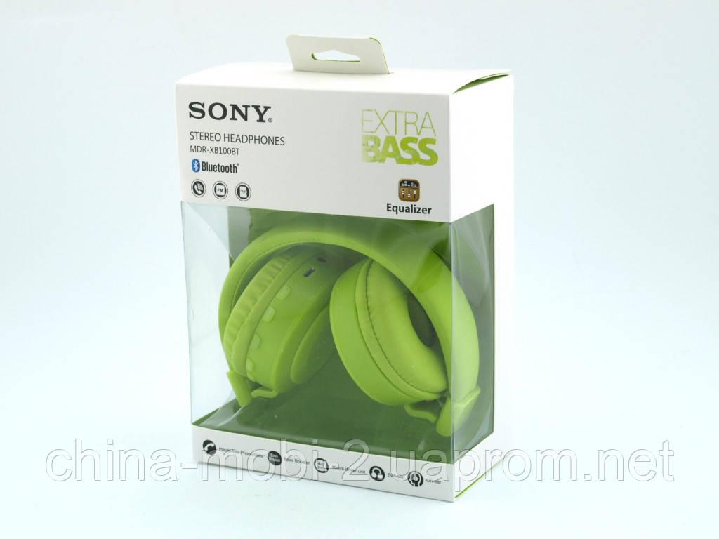 Sony MDR-XB100BT копія, Bluetooth навушники гарнітура c FM MP3, зелені