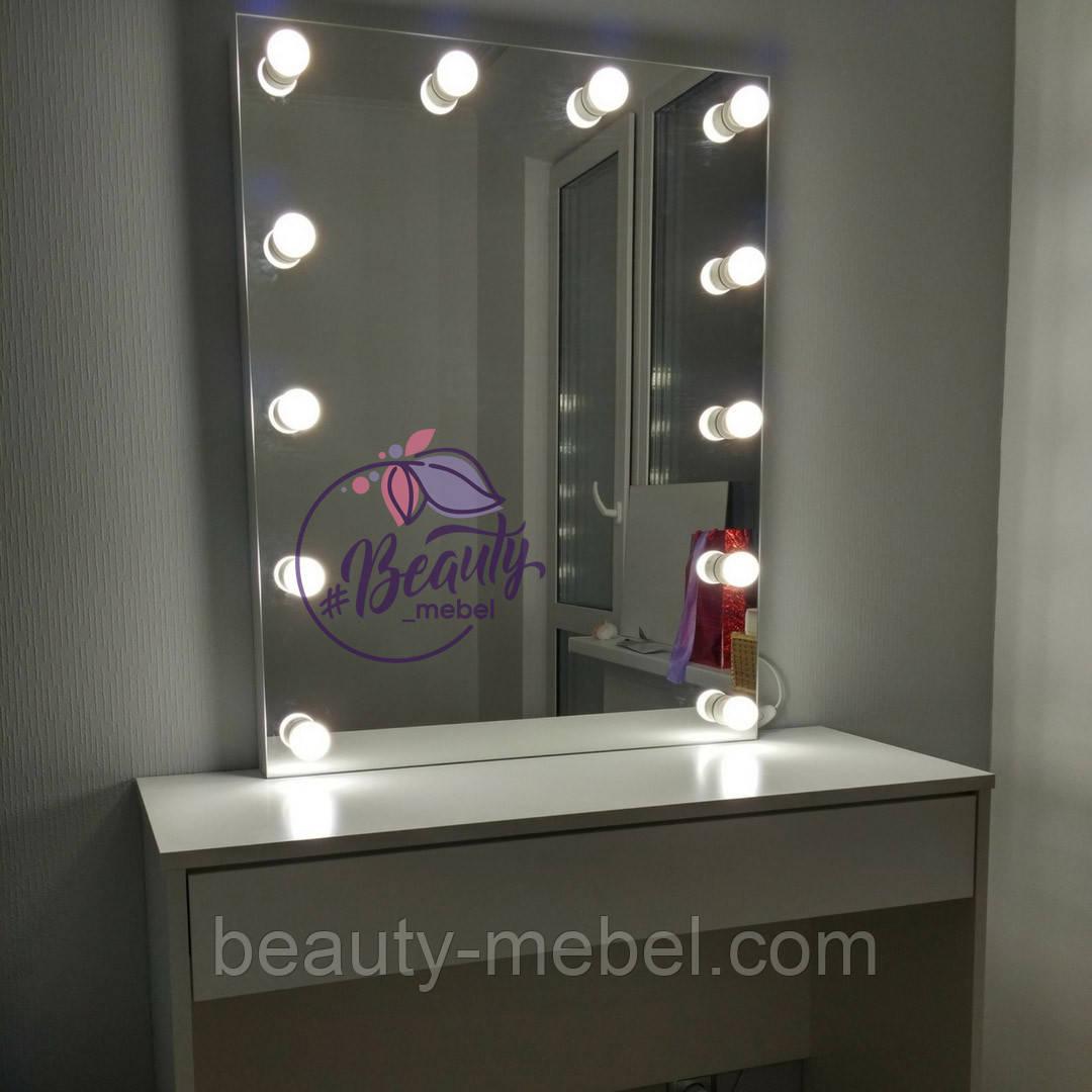 Гримерный столик с высоким зеркалом без рамки, столик для макияжа с лампами