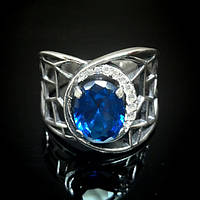 Широкое серебряное кольцо с синим камнем