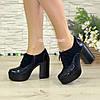 Женски синие туфли на высоком устойчивом каблуке, на шнуровке, натуральная кожа питон и замша, фото 4