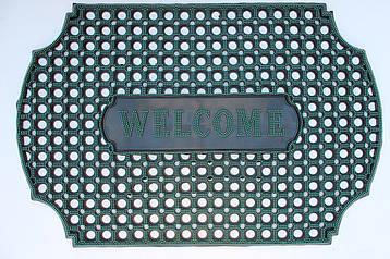 """Резиновый коврик """"Welcome"""" 60х90 (зелёный) придверный"""